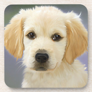 Golden Retriever Puppy Painting Beverage Coaster