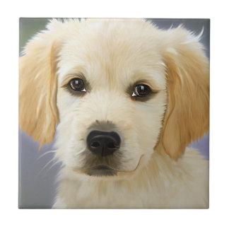 Golden Retriever Puppy Painting Ceramic Tile
