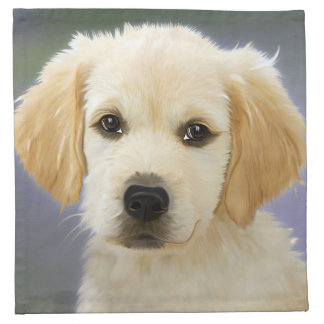 Golden Retriever Puppy Painting Cloth Napkin