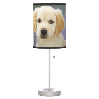 Golden Retriever Puppy Painting Table Lamp