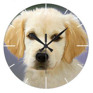 Golden Retriever Puppy Painting Wall Clocks