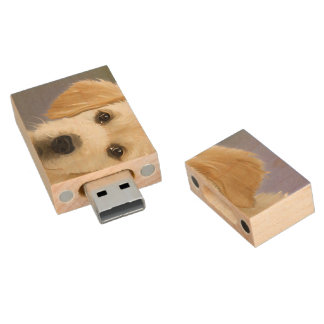 Golden Retriever Puppy Painting Wood USB Flash Drive