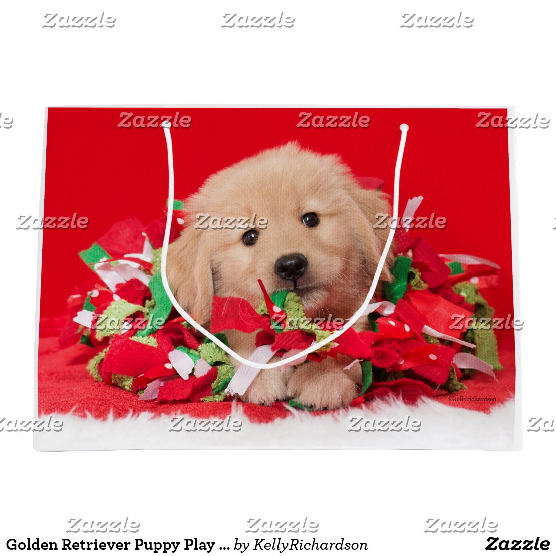 Golden Retriever Puppy Play in Holiday Garland