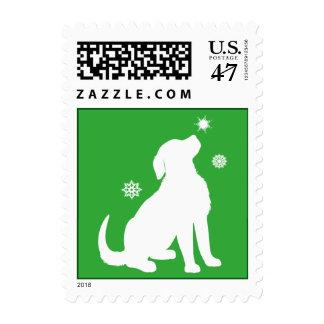 Golden Retriever Puppy Snow Non-Denominational Postage Stamp