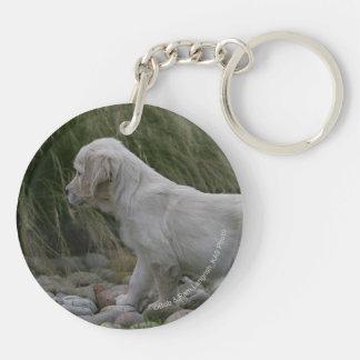 Golden Retriever Puppy Standing Keychain