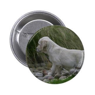 Golden Retriever Puppy Standing Pinback Button