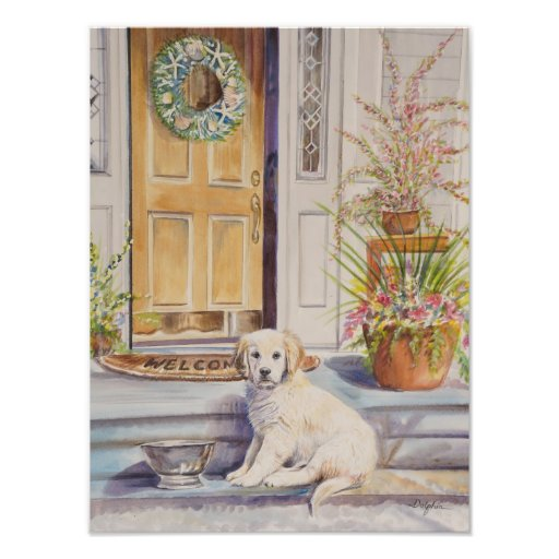 Golden Retriever Puppy Welcome Print