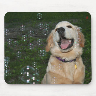 Golden Retriever Puppy with Bubbles Mouse Pad
