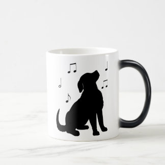 Golden Retriever Puppy with Music Notes Silhouette Magic Mug