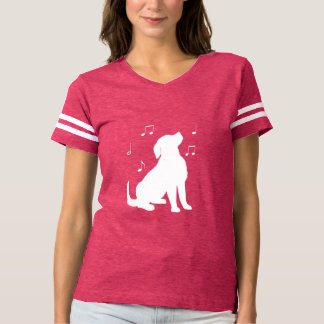 Golden Retriever Puppy with Music Notes Silhouette T-shirt