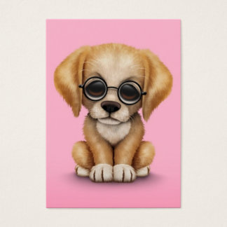 Golden Retriever Puppy with Reading Glasses, pink Business Card