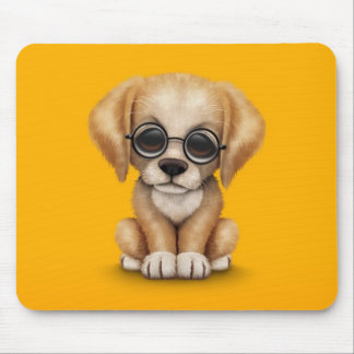 Golden Retriever Puppy with Reading Glasses yellow Mouse Pad