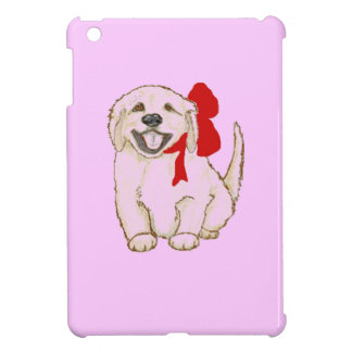 Golden Retriever Puppy with Red Ribbon iPad Mini Covers