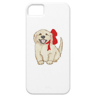 Golden Retriever Puppy with Red Ribbon iPhone SE/5/5s Case
