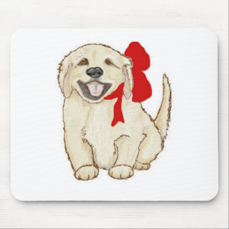 Golden Retriever Puppy with Red Ribbon Mouse Pad