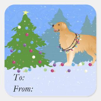 Golden retriever que adorna el árbol de navidad pegatina cuadrada