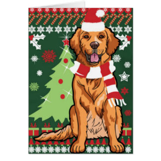 Golden Retriever Ready For Christmas Card