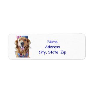 Golden Retriever Return Address Label,  July 4th Label