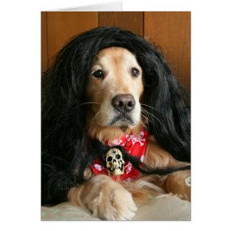 Golden Retriever Rock and Roll Dog Birthday Card