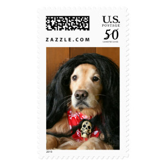 Golden Retriever Rock and Roll Dog Postage