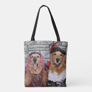 Golden Retriever Romeo and Juliet Tote Bag