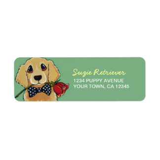 Golden Retriever & Rose | Dog Return Address Label