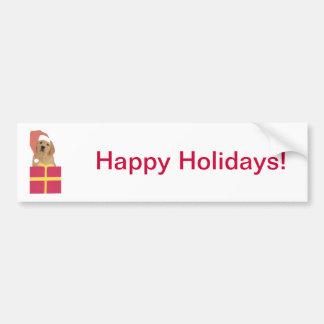 Golden Retriever Santa Hat Gift Box Bumper Sticker