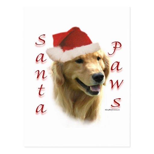 Golden Retriever Santa Paws Postcards
