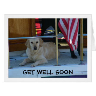 GOLDEN RETRIEVER SAYS PLEASE GET WELL SOON LARGE GREETING CARD