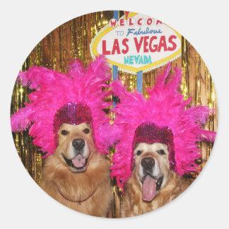 Golden Retriever Showgirls Classic Round Sticker