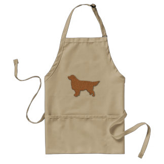 Golden Retriever Silhouette in Brown Adult Apron