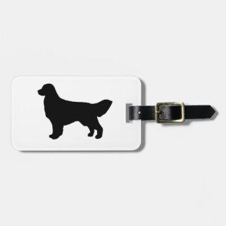 golden retriever silhouette luggage tag