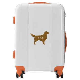 Golden Retriever Silhouette Personalized Luggage