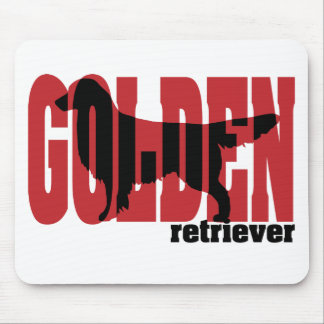 Golden Retriever Silhouette, Red and black Mouse Pad