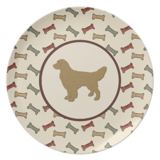 Golden Retriever Silhouette with Dog Bones Dinner Plate