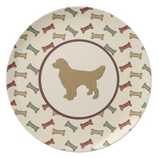 Golden Retriever Silhouette with Dog Bones Party Plate