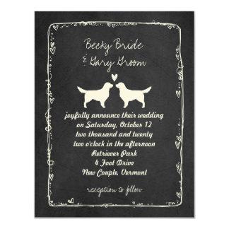 Golden Retriever Silhouettes Wedding Card