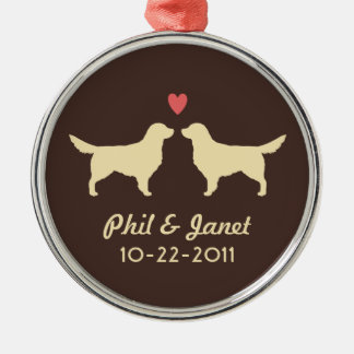 Golden Retriever Silhouettes with Heart and Text Metal Ornament