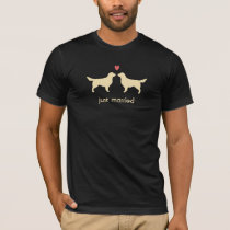 Golden Retriever Silhouettes with Heart and Text T-Shirt