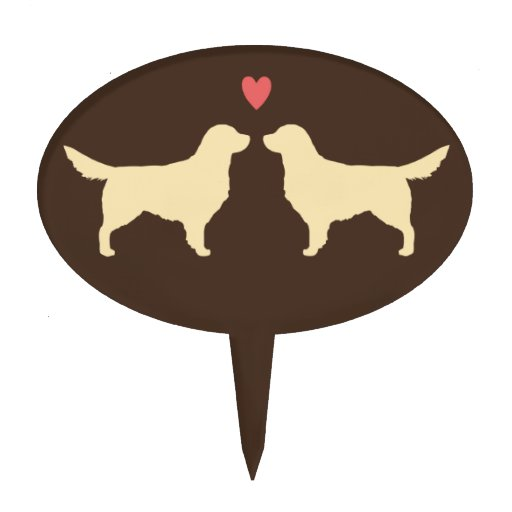 Golden Retriever Silhouettes With Heart Cake Topper Zazzle