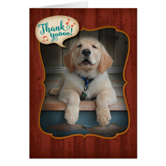 Golden Retriever Singing Praises Thank You Card