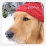 Golden Retriever Ski Dog Color Sticker