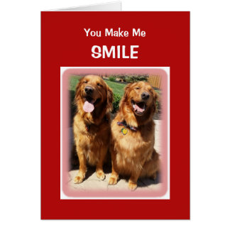 Golden Retriever Smile Heart Valentine's Day Card