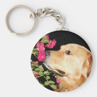 Golden Retriever Sniffing Roses Keychain