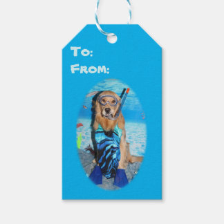 Golden Retriever Snorkeler Gift Tags