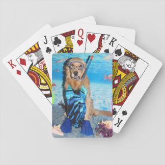 Golden Retriever Snorkeler Playing Cards