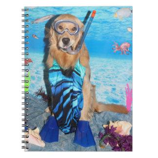 Golden Retriever Snorkeler Spiral Notebook