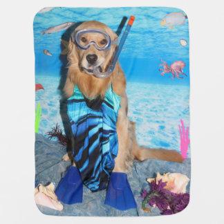 Golden Retriever Snorkeler Swaddle Blanket