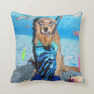 Golden Retriever Snorkeler Throw Pillow