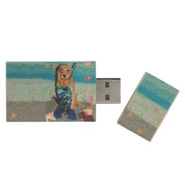 Ocean Themed Golden Retriever Snorkeler Wood USB Flash Drive